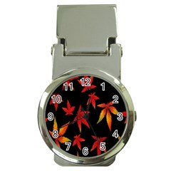 Colorful Autumn Leaves On Black Background Money Clip Watches