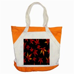 Colorful Autumn Leaves On Black Background Accent Tote Bag