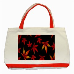 Colorful Autumn Leaves On Black Background Classic Tote Bag (red)