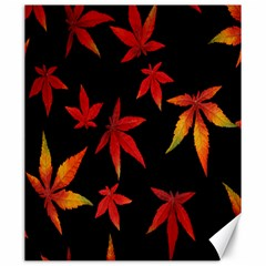 Colorful Autumn Leaves On Black Background Canvas 20  X 24