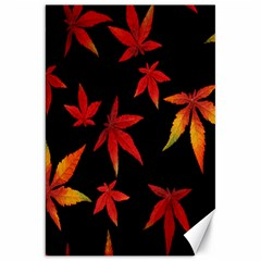 Colorful Autumn Leaves On Black Background Canvas 20  X 30