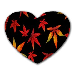 Colorful Autumn Leaves On Black Background Heart Mousepads