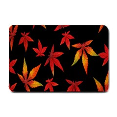 Colorful Autumn Leaves On Black Background Small Doormat