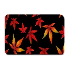 Colorful Autumn Leaves On Black Background Plate Mats
