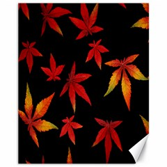 Colorful Autumn Leaves On Black Background Canvas 11  X 14