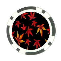 Colorful Autumn Leaves On Black Background Poker Chip Card Guard