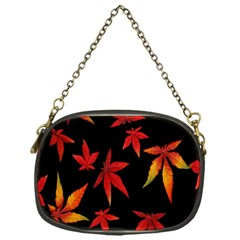 Colorful Autumn Leaves On Black Background Chain Purses (one Side)