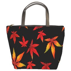 Colorful Autumn Leaves On Black Background Bucket Bags
