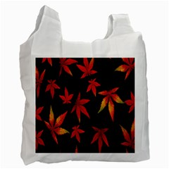 Colorful Autumn Leaves On Black Background Recycle Bag (Two Side)