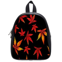 Colorful Autumn Leaves On Black Background School Bags (small)