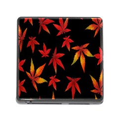 Colorful Autumn Leaves On Black Background Memory Card Reader (square)