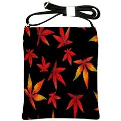 Colorful Autumn Leaves On Black Background Shoulder Sling Bags