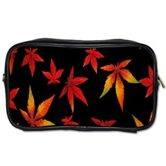 Colorful Autumn Leaves On Black Background Toiletries Bags