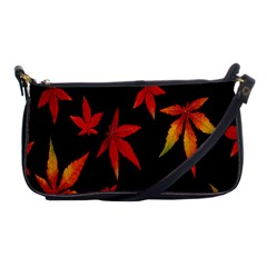 Colorful Autumn Leaves On Black Background Shoulder Clutch Bags