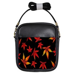 Colorful Autumn Leaves On Black Background Girls Sling Bags