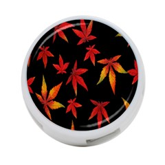 Colorful Autumn Leaves On Black Background 4 Port Usb Hub (two Sides)