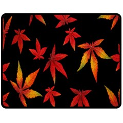 Colorful Autumn Leaves On Black Background Fleece Blanket (medium)