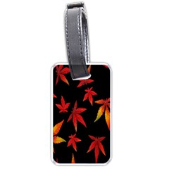 Colorful Autumn Leaves On Black Background Luggage Tags (two Sides)