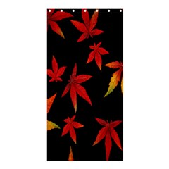 Colorful Autumn Leaves On Black Background Shower Curtain 36  X 72  (stall)