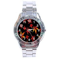 Colorful Autumn Leaves On Black Background Stainless Steel Analogue Watch