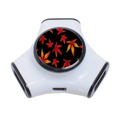 Colorful Autumn Leaves On Black Background 3 Port Usb Hub
