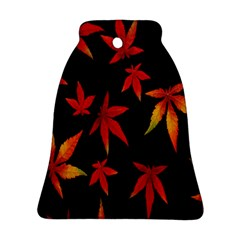 Colorful Autumn Leaves On Black Background Bell Ornament (two Sides)