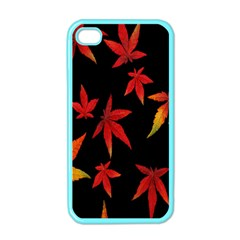 Colorful Autumn Leaves On Black Background Apple Iphone 4 Case (color)