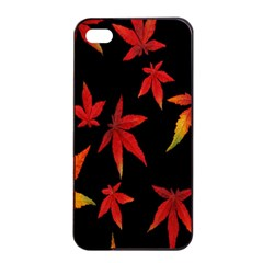 Colorful Autumn Leaves On Black Background Apple Iphone 4/4s Seamless Case (black)