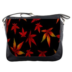 Colorful Autumn Leaves On Black Background Messenger Bags