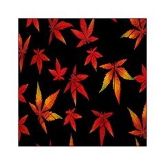 Colorful Autumn Leaves On Black Background Acrylic Tangram Puzzle (6  X 6 )