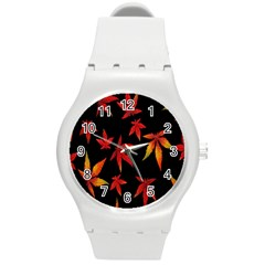 Colorful Autumn Leaves On Black Background Round Plastic Sport Watch (m)