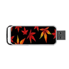 Colorful Autumn Leaves On Black Background Portable Usb Flash (one Side)