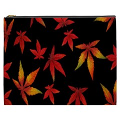 Colorful Autumn Leaves On Black Background Cosmetic Bag (xxxl)