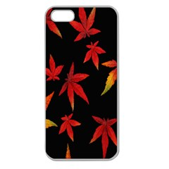 Colorful Autumn Leaves On Black Background Apple Seamless Iphone 5 Case (clear)