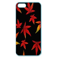 Colorful Autumn Leaves On Black Background Apple Seamless iPhone 5 Case (Color)