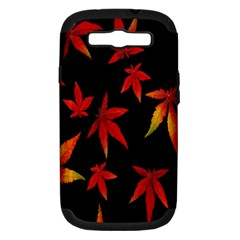 Colorful Autumn Leaves On Black Background Samsung Galaxy S Iii Hardshell Case (pc+silicone)