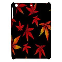 Colorful Autumn Leaves On Black Background Apple Ipad Mini Hardshell Case