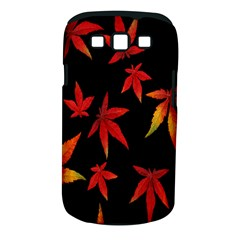 Colorful Autumn Leaves On Black Background Samsung Galaxy S III Classic Hardshell Case (PC+Silicone)