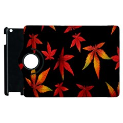 Colorful Autumn Leaves On Black Background Apple Ipad 3/4 Flip 360 Case