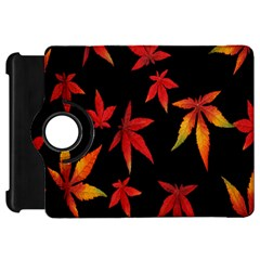 Colorful Autumn Leaves On Black Background Kindle Fire Hd 7