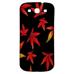 Colorful Autumn Leaves On Black Background Samsung Galaxy S3 S Iii Classic Hardshell Back Case