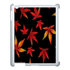Colorful Autumn Leaves On Black Background Apple Ipad 3/4 Case (white)