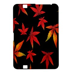 Colorful Autumn Leaves On Black Background Kindle Fire Hd 8 9