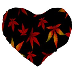Colorful Autumn Leaves On Black Background Large 19  Premium Heart Shape Cushions