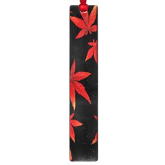 Colorful Autumn Leaves On Black Background Large Book Marks
