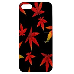 Colorful Autumn Leaves On Black Background Apple Iphone 5 Hardshell Case With Stand