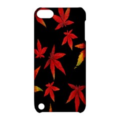 Colorful Autumn Leaves On Black Background Apple Ipod Touch 5 Hardshell Case With Stand