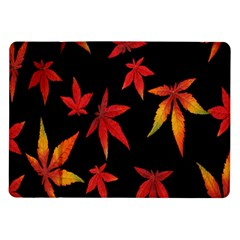Colorful Autumn Leaves On Black Background Samsung Galaxy Tab 10 1  P7500 Flip Case