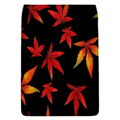 Colorful Autumn Leaves On Black Background Flap Covers (S)