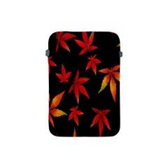 Colorful Autumn Leaves On Black Background Apple iPad Mini Protective Soft Cases